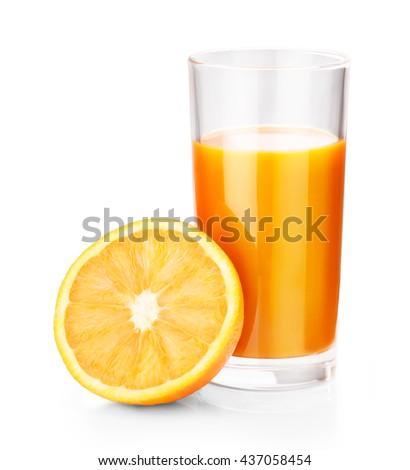 orange juice isolated on white background clipping path - stock photo