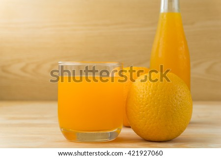 Orange juice on a wooden table