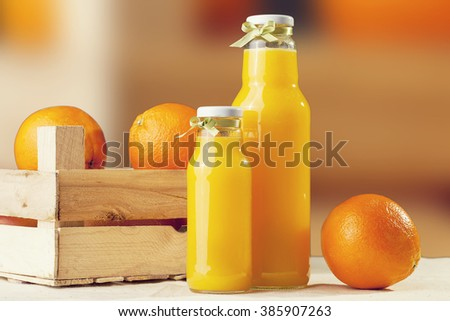 Orange juice on table close-up