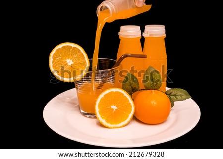 orange juice on the white background - stock photo