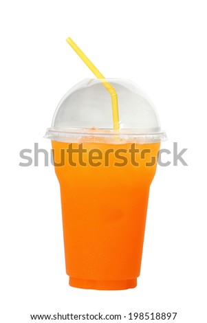 Orange juice on white background.