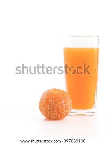 orange juice on white background - stock photo