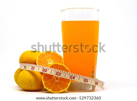 Orange juice, Oranges and Measuring tape isolated with measurement on white background.
