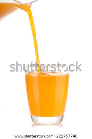 orange juice pouring into glass - stock photo