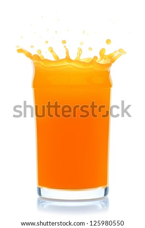 Orange juice splash, isolated on the white background, clipping path included. - stock photo