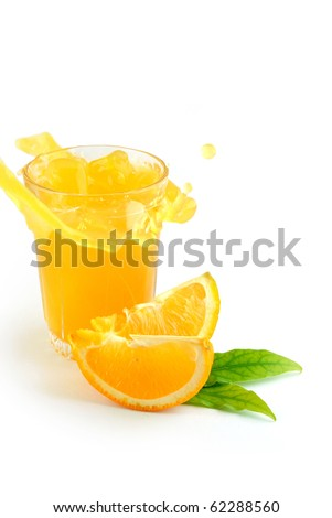 Orange juice splash isolated on white - stock photo