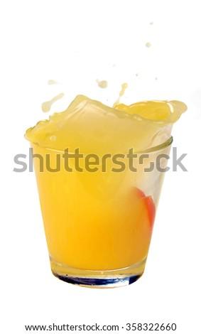 orange juice splash on a white background - stock photo
