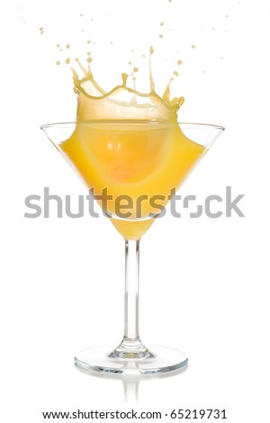 Orange juice splash studio isolated on white background