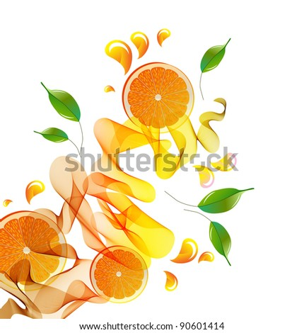 Orange juice splash with abstract wave and leaves