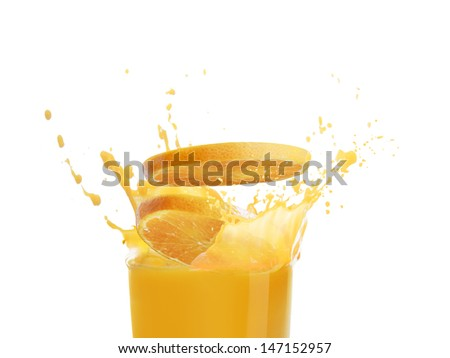Orange juice splashing isolated on white background