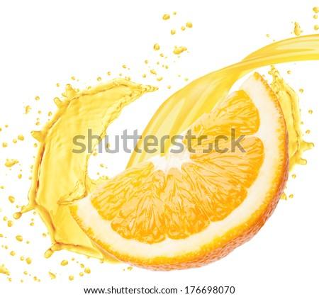 Orange juice splashing isolated on white background  - stock photo