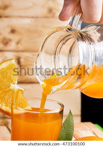 Orange Juice Squeezed Showing Fruits Fresh And Healthy