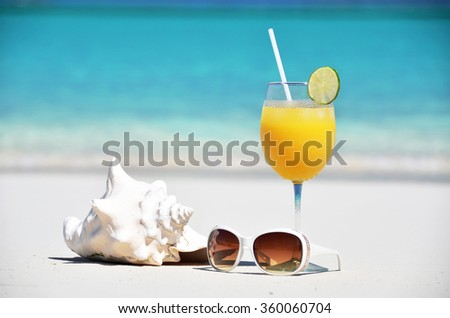 Orange juice, sunglasses and conch on the beach of Exuma, Bahamas - stock photo