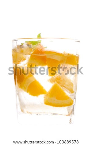 orange juice, Sunkist orange cut in a glass decorate with mint leaf