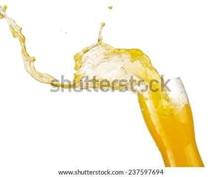 Orange juice up, close up - stock photo