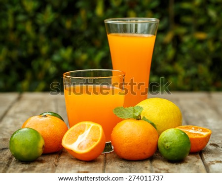 Orange juice with lemon, lime and mint on a wooden board