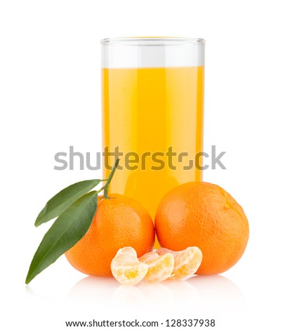 orange juice with oranges - stock photo