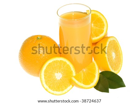 Orange juice with oranges isolated on white background