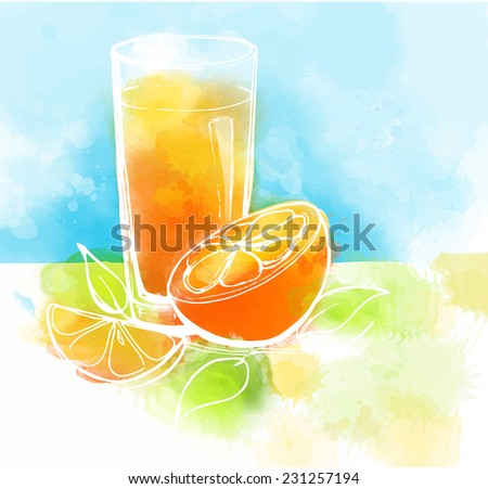 Orange juice with slices of orange and leaves. Watercolor painting. Healthy food concept. - stock photo