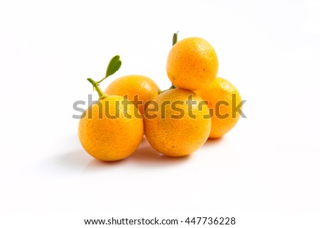 Orange Kumquat placed on white background - stock photo