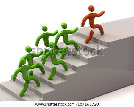 Orange leader climbing up stairs - stock photo