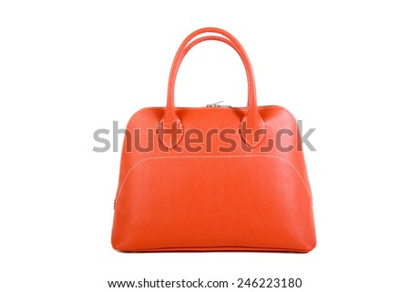 Orange  Leather Bag isolated on white background - stock photo