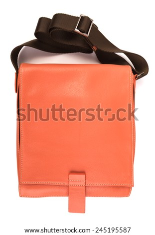 Orange leather bag on white background