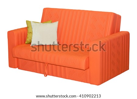 Orange leather sofa with pillows isolated on white background