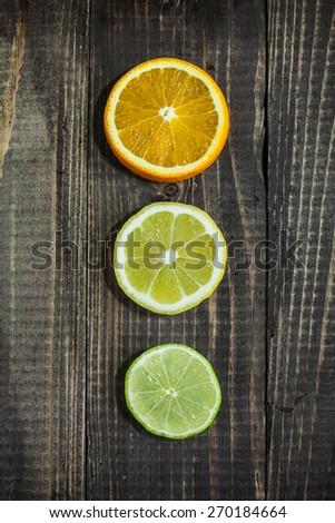 orange, lemon, lime - stock photo