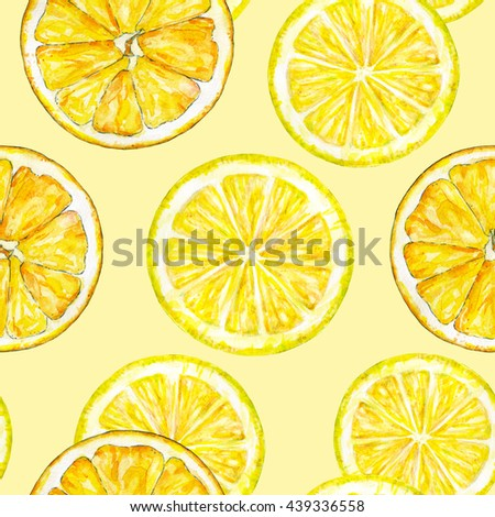 Orange lemon segments. Watercolor drawing. Handwork. Tropical fruit. Healthy food. Seamless pattern for design - stock photo