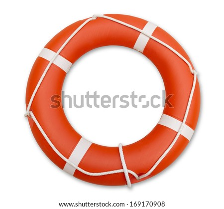 Orange lifeguard, isolated on white background - stock photo