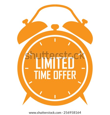 orange limited time offer on alarm clock sticker, badge, icon, stamp, label, banner, sign isolated on white - stock photo