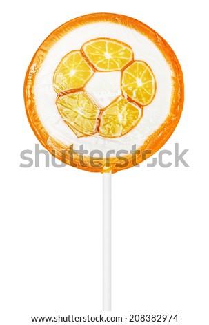 orange lollipop isolated on white background - stock photo