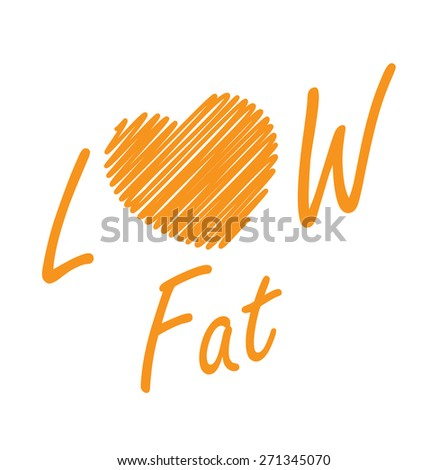 Orange Low Fat Label, Banner, Sign or Icon Isolated on White Background - stock photo