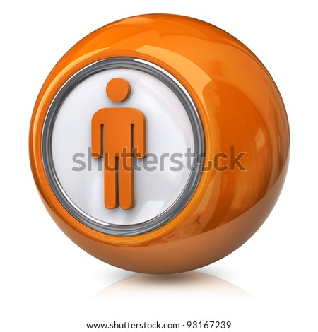 Orange male icon - stock photo