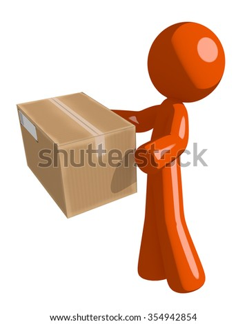 Orange Man Delivering a Package - stock photo