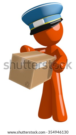 Orange Man postal mail worker  Box Delivery - stock photo