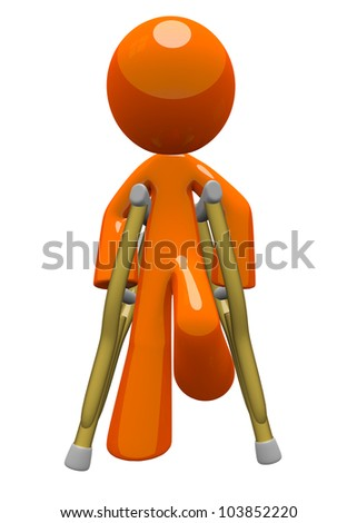 Orange man with crutches front view. Basic concept in patient care and recovery. - stock photo