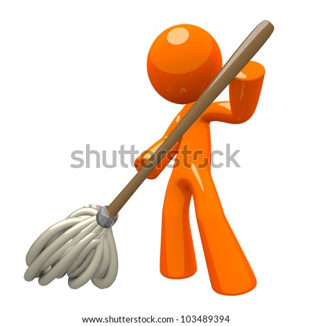Orange Man with 3d Mop, mopping the floor, cleaning services illustration. - stock photo