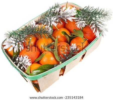 orange mandarins in Christmas  box isolated on white - stock photo