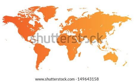 Orange map of the World. Raster version. - stock photo