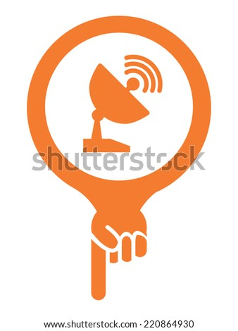 Orange Map Pointer Icon With Satellite Station and Satellite Dish Service Sign Isolated on White Background  - stock photo