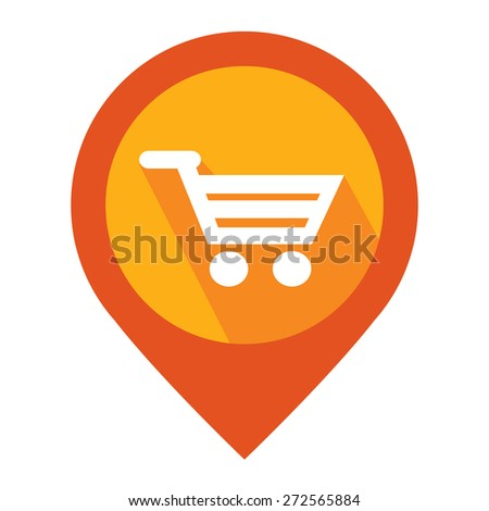 Orange Map Pointer Icon With Shopping Cart, Shopping Center, Supermarket or Department Store Sign Isolated on White Background  - stock photo