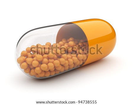 Orange medical pill 3D. Vitamins. Isolated on white background - stock photo