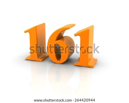 orange metallic number 161 on white background.digitally generated image.