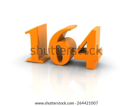 orange metallic number 164 on white background.digitally generated image.