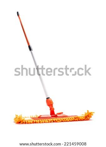 Orange microfiber mop isolated on white background - stock photo