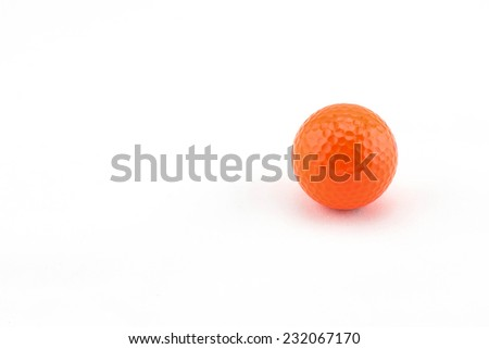 Orange Miniature Golf Ball Isolated On White Background. - stock photo