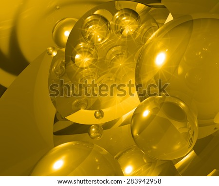 Orange modern three-dimensional abstract background with transparent bubbles. 6 - stock photo