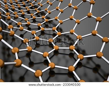 Orange molecular mesh structure rendered - stock photo